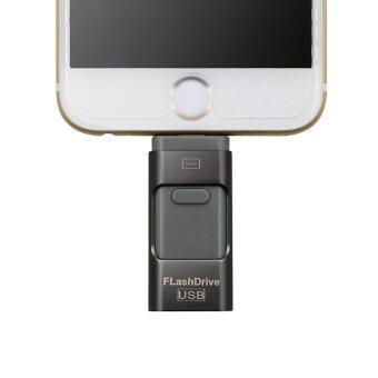 Flash Drive 32GB 3 in 1 Metal USB OTG U Disk Menory Stick (Black)