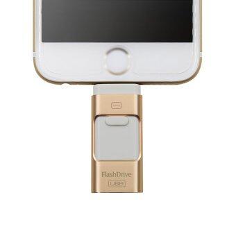 Flash Drive 64GB 3 in 1 Metal USB OTG U Disk Menory Stick(Gold)