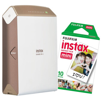 Fujifilm instax SHARE SP-2 (Gold) + INSTAX Film mini Pack-1 (10Sheets)