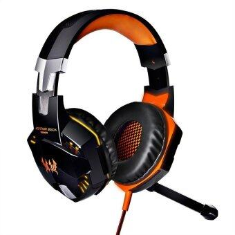 G2000 Comfortable LED 3.5mm Stereo Gaming LED Lighting Over-EarHeadphone Headset Headband with Mic Orange
