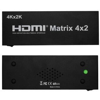 HDMI New HDMI Matrix 4X2 Switch Splitter HIFI Matrix 4 in 2 out with Remote Control Audio Supports HDMI V1.4/3D/4Kx2K