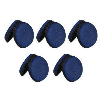 ราคา เคสเก็บหูฟังระดับ Hi-End ใหม่เนื้อผ้ายีน 5 ใบ (สีน้ำเงิน)