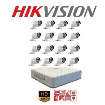 Hikvision (( Camera SET 16Ch )) HD720P (DS-2CE16C0T-IR x 16, DS-7116HGHI-F1 x 1) 16 Camera 1 DVR