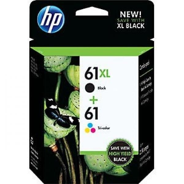 HP 61XL/61 High Yield Black and Standard Tricolor Combo Pack (CZ138FN 140) (In Retail Packing) - intl image
