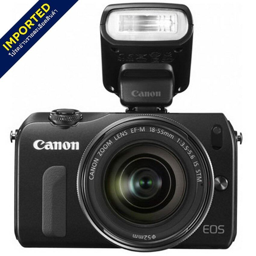(IMPORTED) Canon EOS-M 22mm+18-55mm+90EX+Adapter for EF Black (8GB Memory Card + Case +  ...