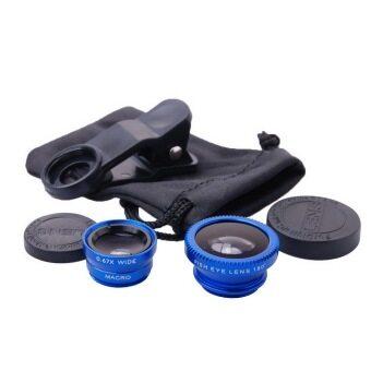 อุปกรณ์ iPhone gadget เลนส์ เสริม lens 3in1 For iPhone 4S 5S 6 Plus For iPhone 5S 6S 6 Plus (สีน้ำเงิน)