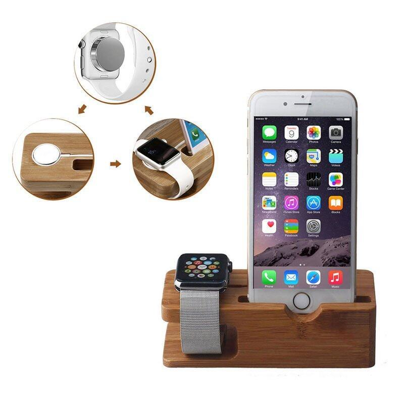 iphone Stand Charging Station Bracket Accessories for Apple Watch (Brown) ...