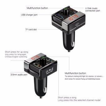 2561 JJ บลูทูธเครื่องส่งสัญญาณ FM ในรถยนต์รถยนต์เล่น MP3 กับชาร์จรถ USB จอแสดงผล LED และสองบรรทัดในการทำงาน A7 ( สีดำ )