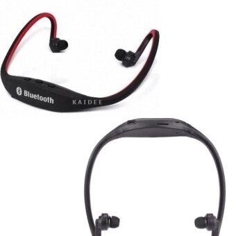 2561 Kaidee หูฟังบลูทูธ รับสาย เล่นกีฬา พร้อมช่องใส่เม็ม / MP3 Sport Wireless Bluetooth (สีดำ/แดง)
