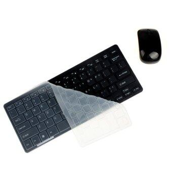 Luxury Ultra Slim Mini 2.4G Wireless Keyboard Mouse Kit for PC Laptop (Black)