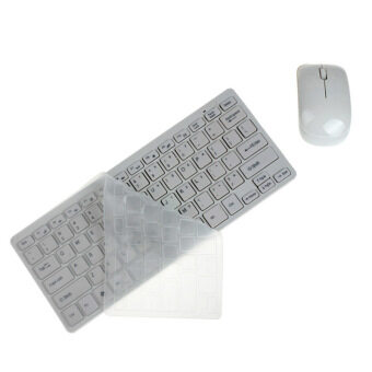 Luxury Ultra Slim Mini 2.4G Wireless Keyboard Mouse Kit for PC Laptop (White)