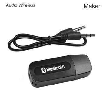Maker USB Bluetooth Audio Music Wireless Receiver Adapter 3.5mm Stereo Audio (Black)