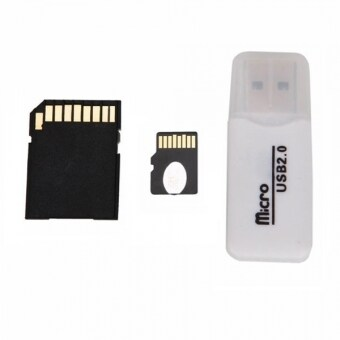 Micro SD Card 32GB + SD Card Adapter + Card Reader (White)