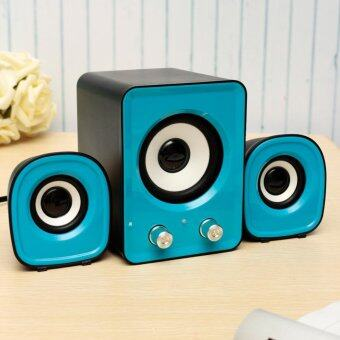 Mini Computer Speaker 2.1 Multimedia Stereo Desktop Portable USB Subwoofer 5V Blue - intl