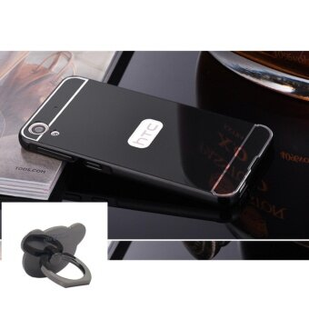 Mirror Metal Frame with Bear ring phone case for HTC Desire820(Black) - intl