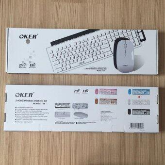 Oker keyboard+mouse Wireless ชุดคีย์บอร์ดเมาส์ไร้สาย T26 (White) (White)