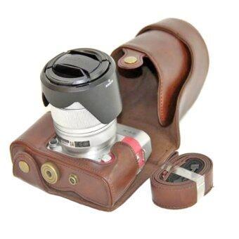 กล้องเคสหนัง pu สำหรับ Fujifilm X-a3 ลัด XA3 16 แบบ 50/18 อะ 55มมเลนส์ (กาแฟ)