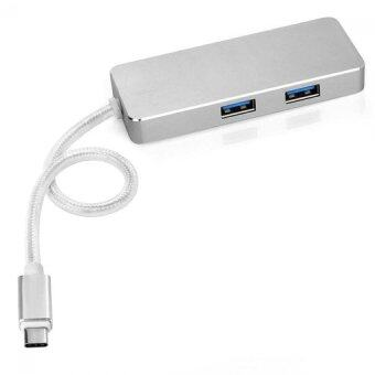 SEENDA Aluminum USB-C to 2-Port USB 3.0 Hub with 1 Type C Charger Port Cable (Silver)