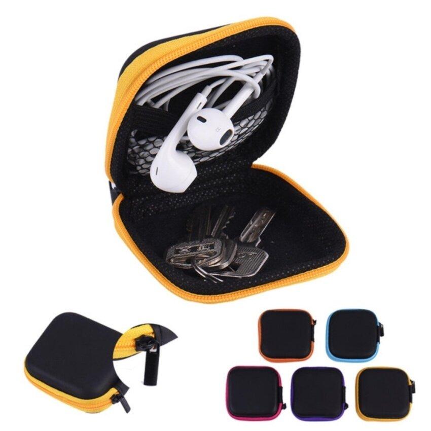 SHN1 Mini Zipper Hard Headphone Case PU Leather Earphone Bag Protective Usb Cable Organizer Portable Earbuds Pouch Box - intl image