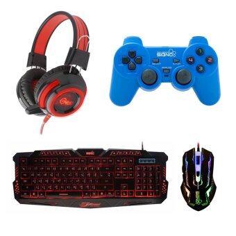 Signo ชุด คีย์บอร์ด + หูฟัง + จอย + เมาส์ รุ่น KB-719,HP-805,GP-801,GM-910 (สีดำ/สีแดง/สีน้ำเงิน/สีดำ)