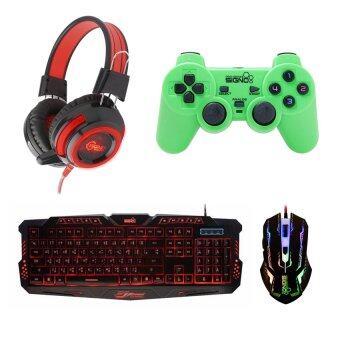 SIGNO ชุด คีย์บอร์ด + หูฟัง + จอย + เมาส์ รุ่น KB-719,HP-805,GP-801,GM-910 (สีดำ/สีแดง/เขียว/สีดำ)
