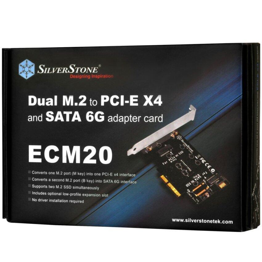 ด่วน SilverStone Technology Dual M.2 to PCI-E X4 and SATA 6G AdapterCard (ECM20) ลดราคา