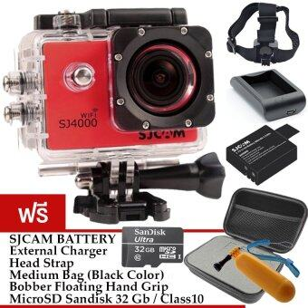 SJCAM SJ4000 Wi-Fi 12MP Model 2016เมนูไทย จอ2.0นิ้ว(Silver) (+ Battery+Charger+HeadStrap+Bobber+Black Bag+Sandisk Micro SD Class10 32GB)