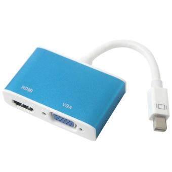 SOBUY Blue 2 In 1 Mini DP to VGA HDMI Adapter Convertor for Apple MacBook MacBook Pro MacBook Air