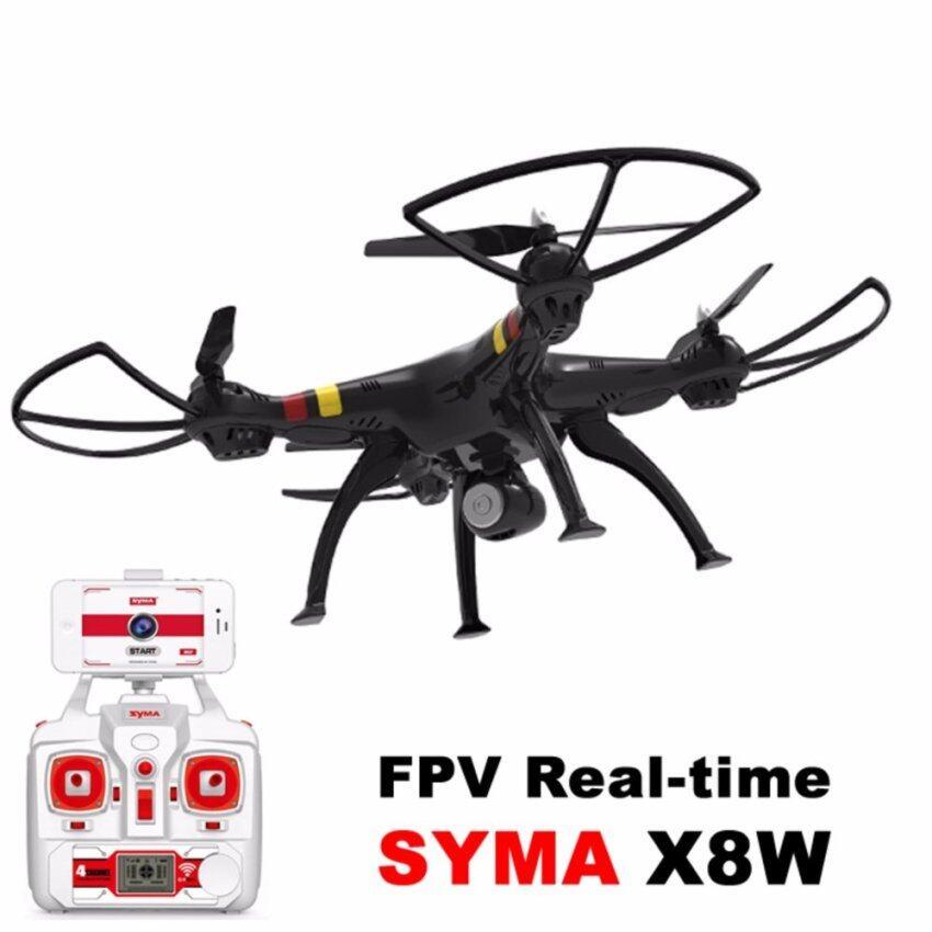 Syma X8W โดรน 2.4Ghz 4CH RC Headless FPV (Real Time) Quadcopter with Wifi Camera black ดูภาพสดผ่านมือถือได้ ถ่ายรุปเคลื่อนไหวและ ภาพนิ่ง (สีดำ)