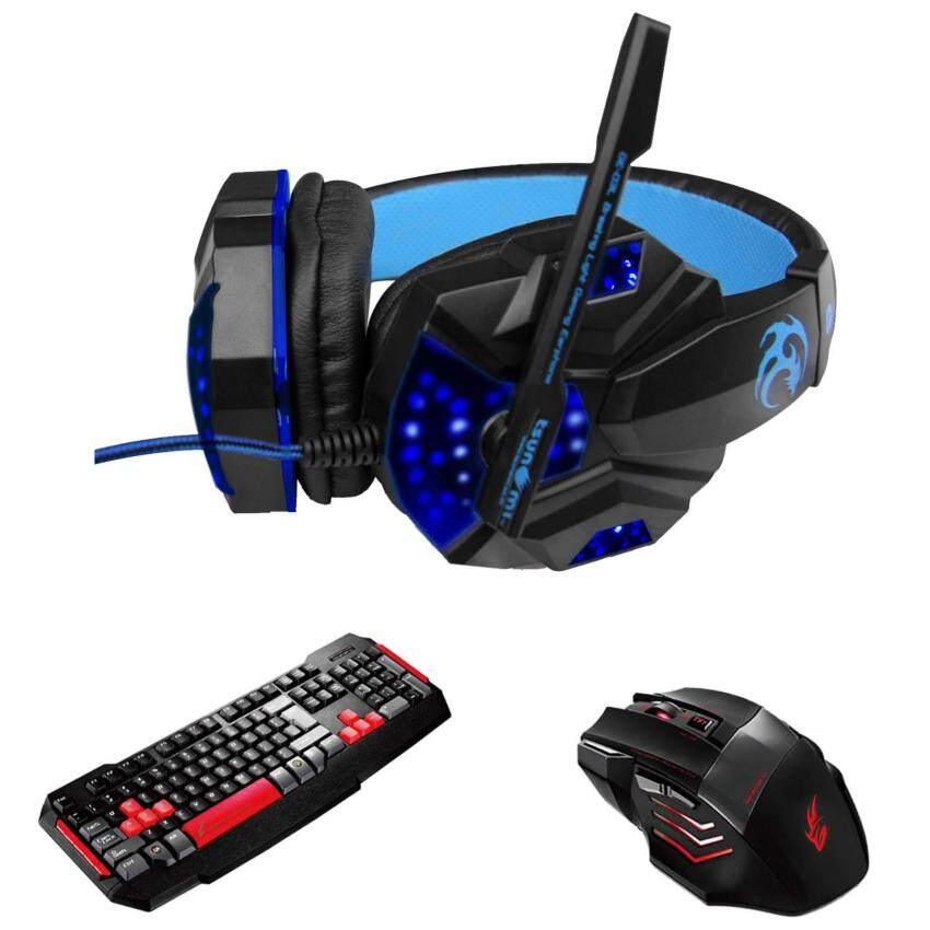 Tsunami Professional Gaming Combo Monster Series Headphones + Keyboard + Mouse 3in1 Kit (Blue/RED)