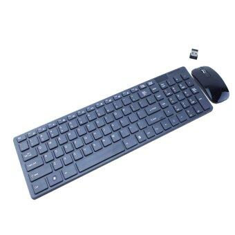 ULTRA THIN 2.4 Ghz Wireless PC Keyboard & optical Mouse USB Receiver For DESKTOP Laptop Keyboard Mice Set (สีดำ)