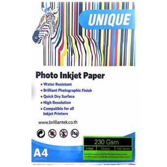 UNIQUE กระดาษโฟโต้ Glossy 230gsm. 100แผ่น