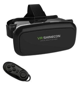 2561 VR SHINECON Virtual Reality Headset 3D Glasses - BLACK Free 4 in 1 Bluetooth Wireless Selfie, Joystick, Mouse ,Remote