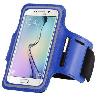 Waterproof PU Leather Sport Arm Band Cover for Samsung Galaxy S6 Edge G9250 (Blue)