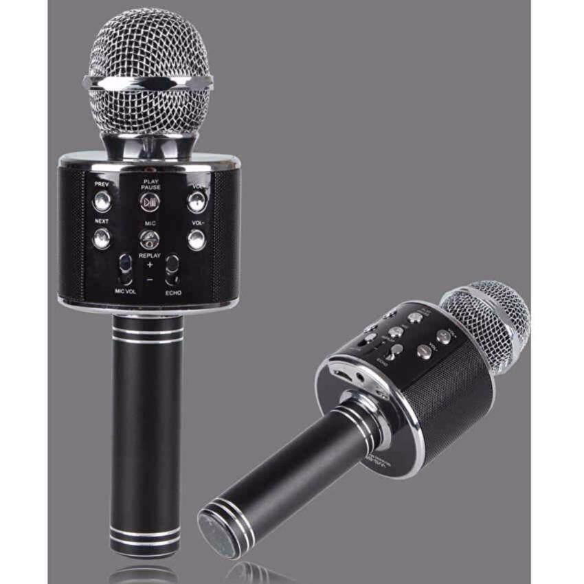 Wster Wireless Microphone HIFI Speaker WS-858 เครื่องเล่นคาราโอเกะ บลูทูธ ไร้สาย ไมโครโฟนคอนเดนเซอร์ ลำโพง ในตัวเดียว (สีดำ)