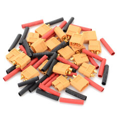 XT60 Male & Female Connectors + Heat Shrink Tubing Set for R/C Model - Yellow + Red + Multi-Color - Intl