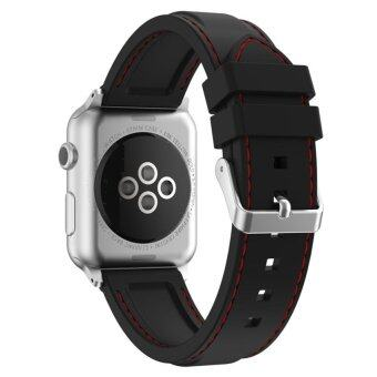 Xumu Apple watch Series 1 Series 2 42mm Soft Silicone Line Stitching Sport Band For Nike+ Apple Watch Series 1 Series 2 iWatch Sport Edition Replacement Strap Wristband (Black Red) - intl