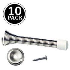 10 Pack Of Satin Nickel Spring Door Stops   3 ¼ Inch Heavy Duty Door Stop