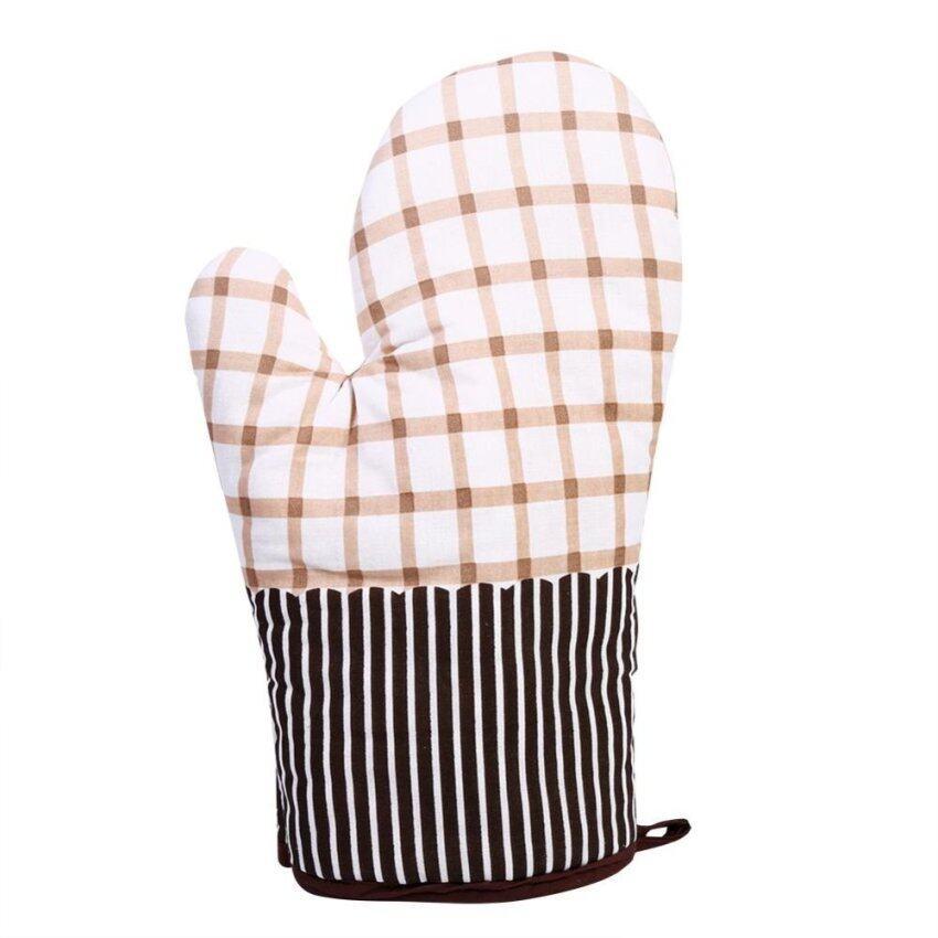 100% Cotton Kitchen Microwave Oven Heat Resistant Glove (Beige & Squares) - intl