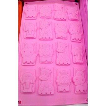 แม่พิมพ์ซิลิโคนรวมลายสัตย์ 12 หลุม สำหรับพิมพ์ช็อกโกแลต วุ้น เยลลี่ และน้ำแข็ง ใช้ได้ทั้งร้อนและเย็น