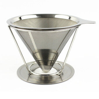 1Cup Paperless Pour Over Coffee Dripper Stainless Steel Reusable Coffee Filter with holder without silicone - intl