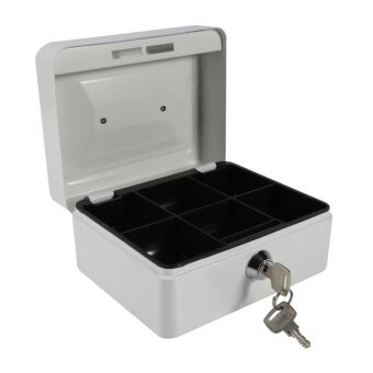 1Pc Mini Portable Steel Petty Lockable Cash Money Coin SafeSecurity Box Household (White) - intl
