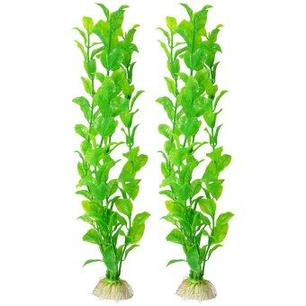 "2 Pcs Aquarium Fish Tank Aquascaping Green Plastic Plant 12.2"" Tall - Intl"