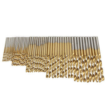 2 SETS 50PCS 1/1.5/2/2.5/3mm HSS High Speed Steel Drill Bit Set Tools Titanium Coated - Intl