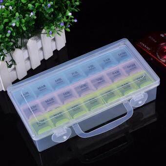 21 Slots Adjustable Compartments Plastic Storage Box Jewelry Tool Organizer Case - intl