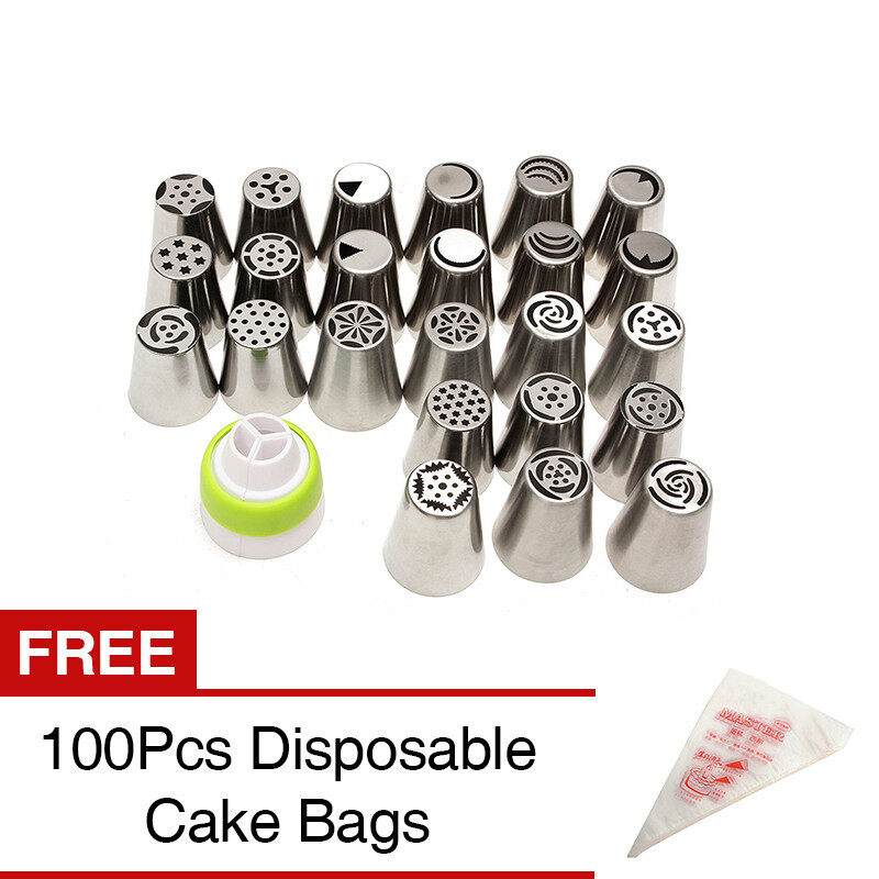24PCS Russian Icing Piping Nozzles Tips Cake Decorating Sugarcraft Pastry Tool [Buy 1 Ge ...