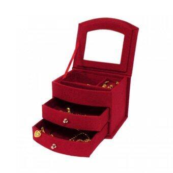 กล่องใส่เครื่องประดับ ด้านใน3ชั้น 2ลิ้นชัก กำมะหยี่ (สีแดง)