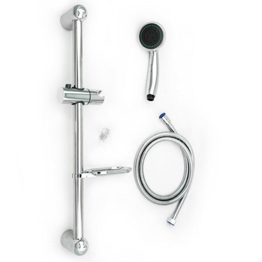 3 Function Shower Set Complete with Hose and Soap Dish and Shower Riser Bar (Intl)