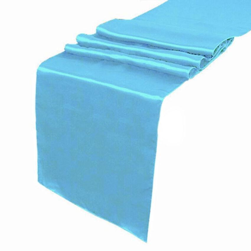 30*275cm Satin Plain Damask Table Runner Home Party Venue Decor-Sky Blue