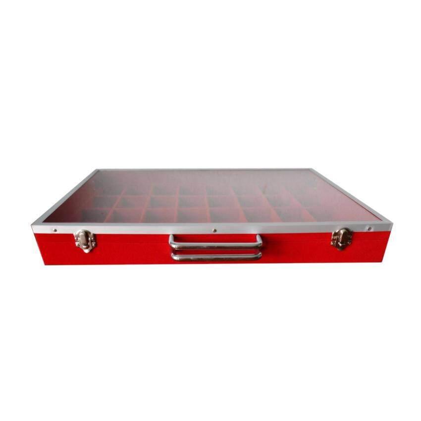 กล่องใส่พระ หุ้มกำมะหยี่ ฝากระจก 32 ช่อง ( แดง )